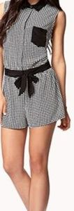 Forever 21 F21 Black White Checker Button Romper L